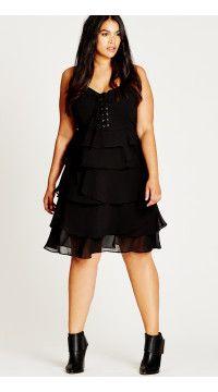 ba3ef0e3e9 Black Lace Up Ruffle Plus Size Dress
