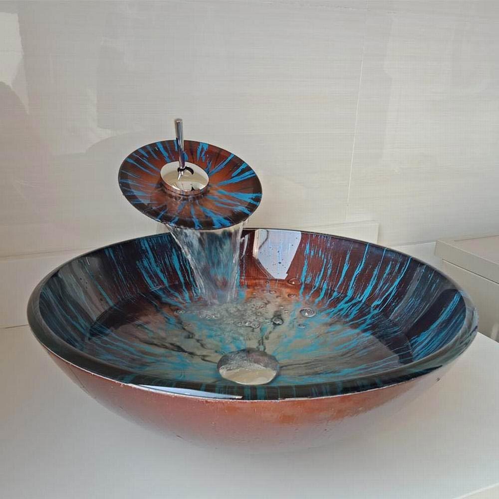 Vasque A Poser Rond Verre Trempe Marron Bleu Avec Robinet Pour Salle De Bains Faucet Glass Vessel Glass Basin