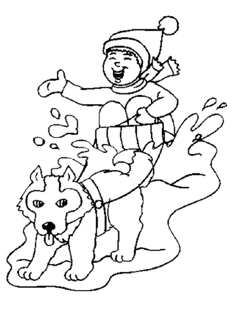 snow dog coloring pages - photo#2