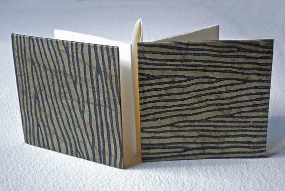 Walnut on Olive Woodgrain Accordion fold Mini by RandsHandmades