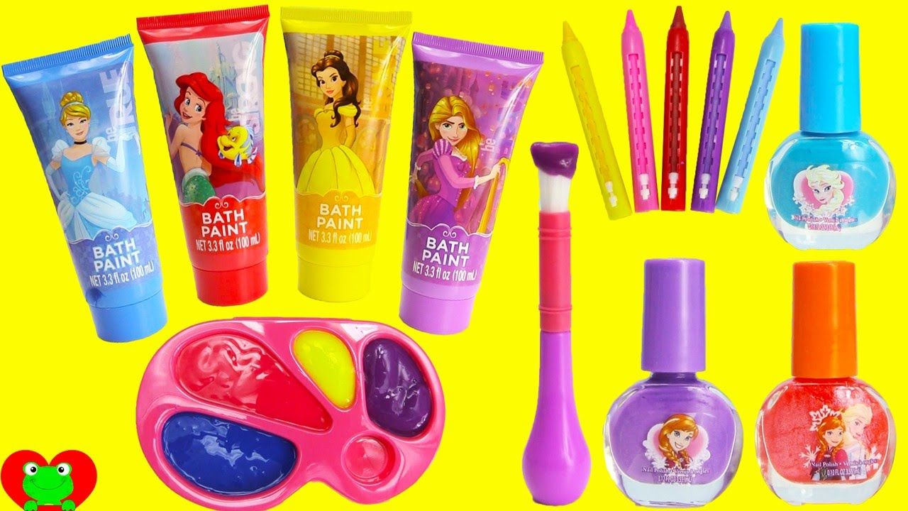 Disney Princess Bath Paints and Nail Polishes Surprises   Frozen and ...