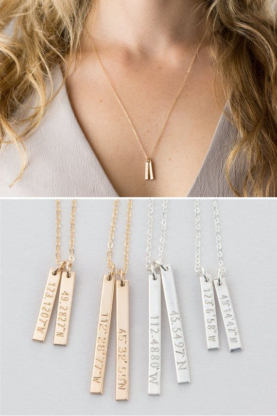 Coordinates Necklace Customized Dainty Vertical Bar Necklace 14k Gold Fill Silver 14k Rose Gold F Bar Necklace Vertical Bar Necklace Coordinates Necklaces