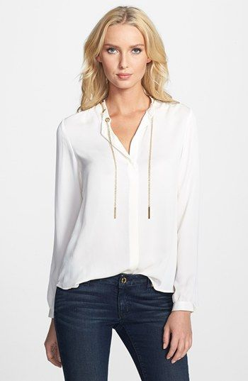 MICHAEL Michael Kors Chain Detail Long Sleeve Blouse available at #Nordstrom