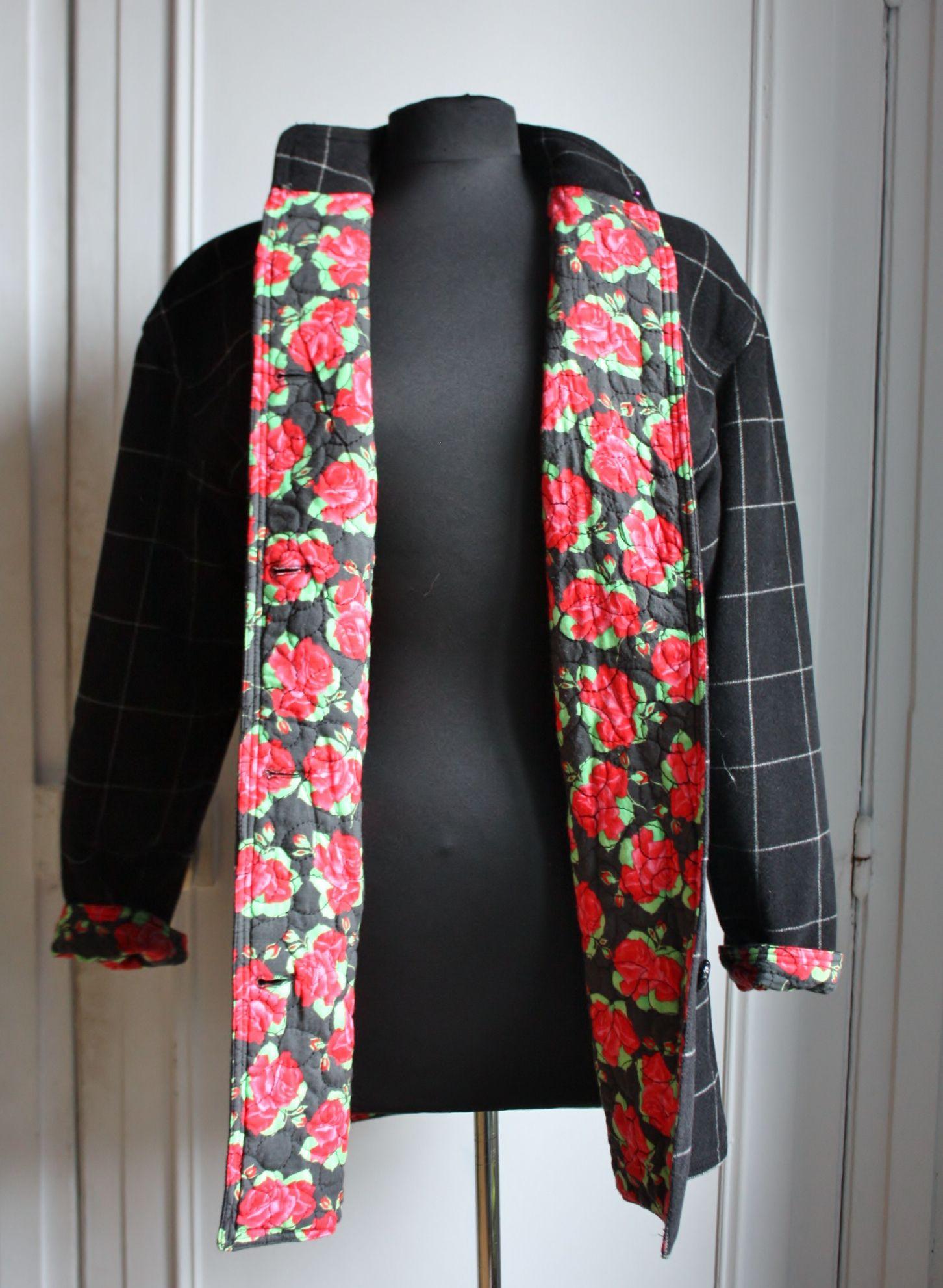 Ungaro winter fleece jacket floral lining le placard blanc