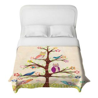 DiaNoche Designs - Owl Bird Tree 2 Duvet Cover - Lightweight and super soft brushed twill Duvet Cover sizes Twin, Queen, King.  Cotton Poly ...