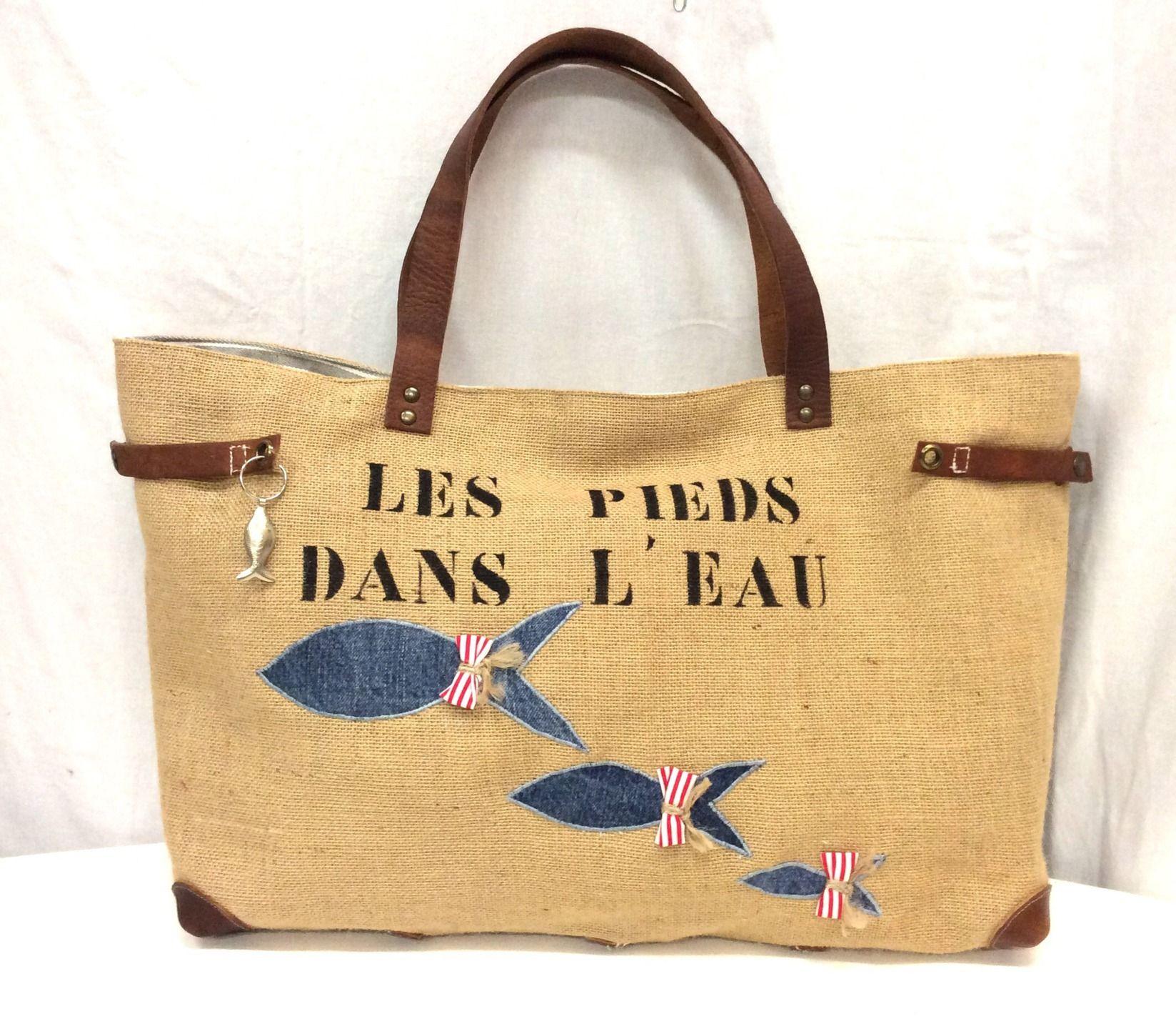 sac cabas toile de jute cuir poissons sacs de plage. Black Bedroom Furniture Sets. Home Design Ideas