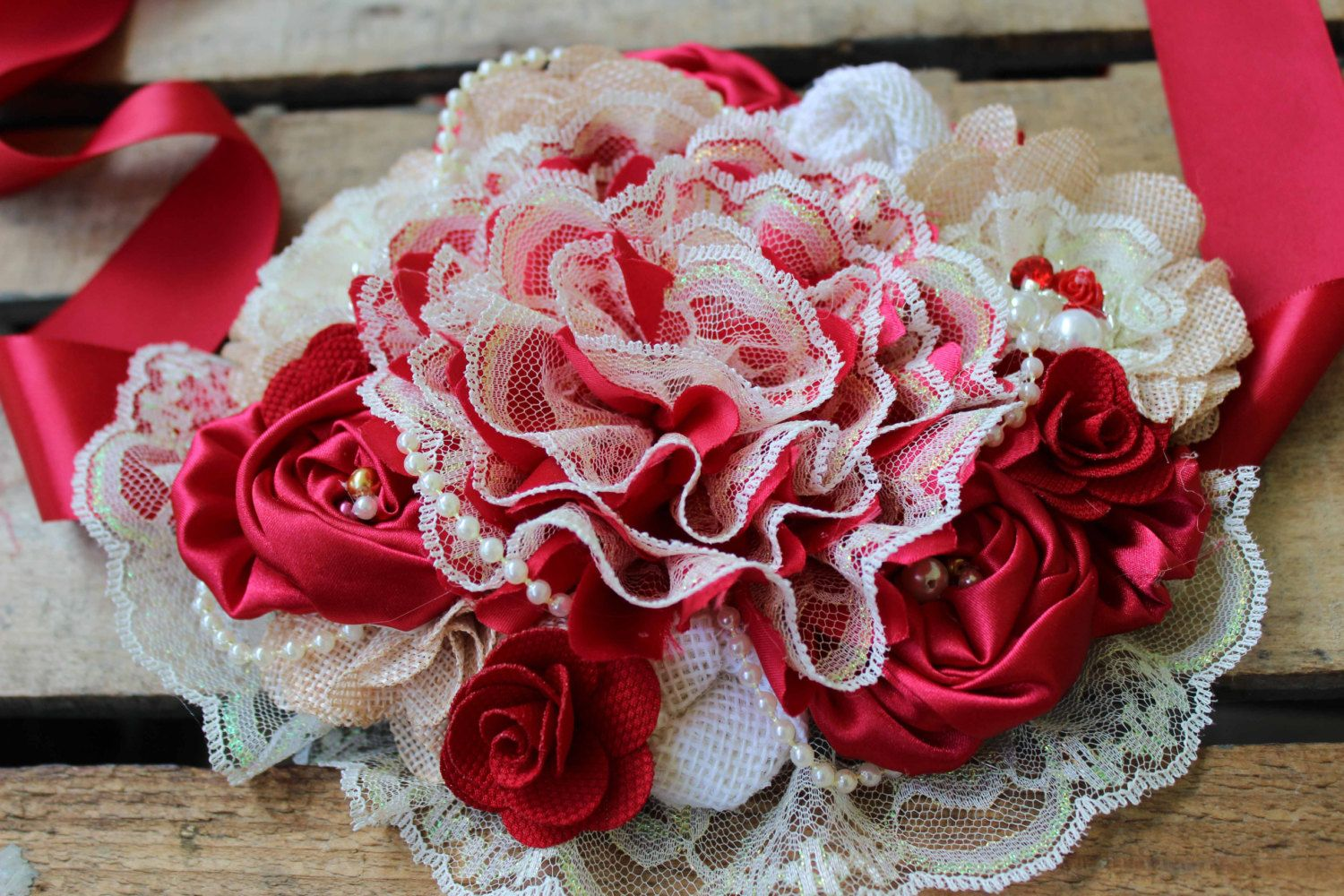 Red Burlap Rustic Maternity Belt Vintage Lace Maternity Sash Belly