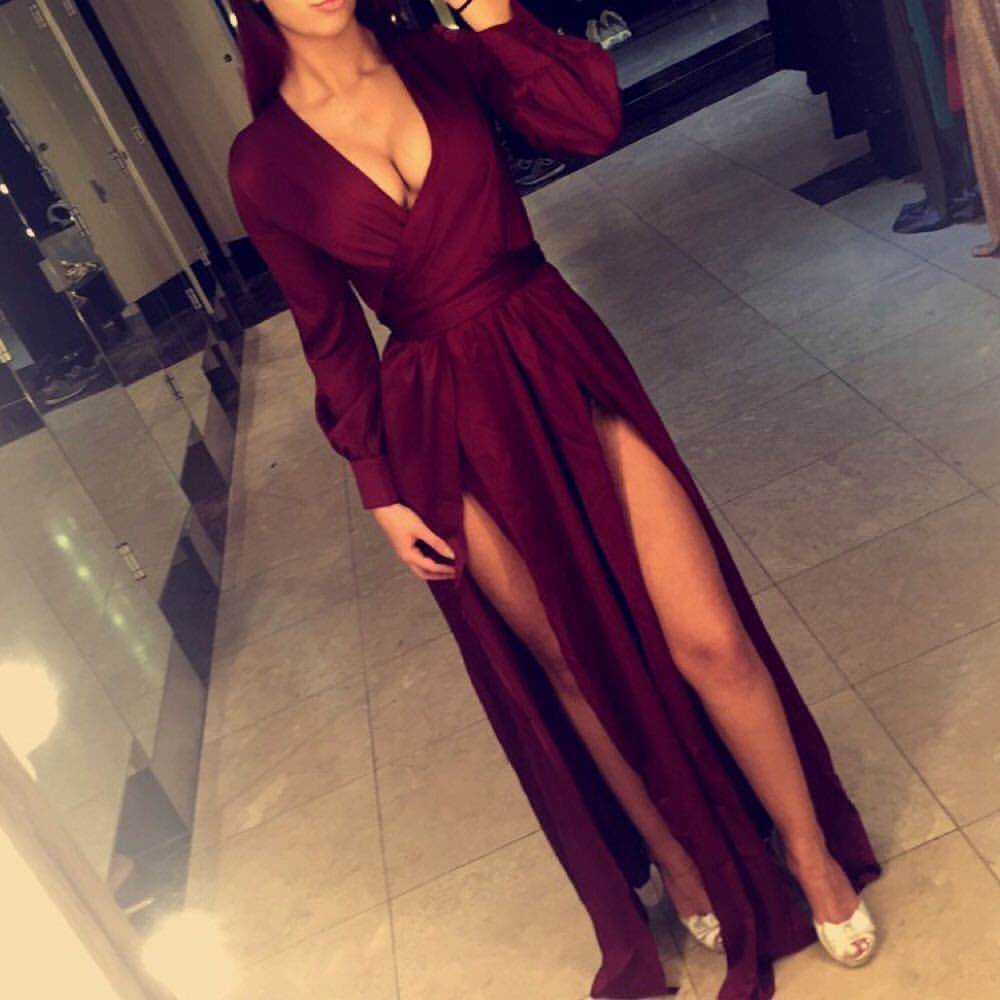 Deep vneck prom dress burgundy prom dress evening dresses