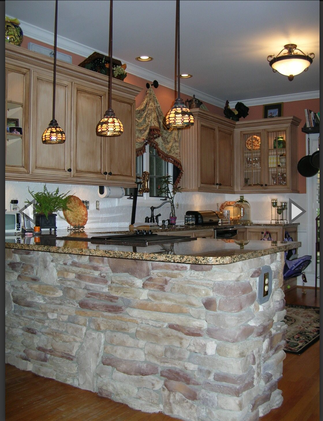 incredible kitchen half wall   Kitchen half wall in stone   Stone accent walls, Stone ...