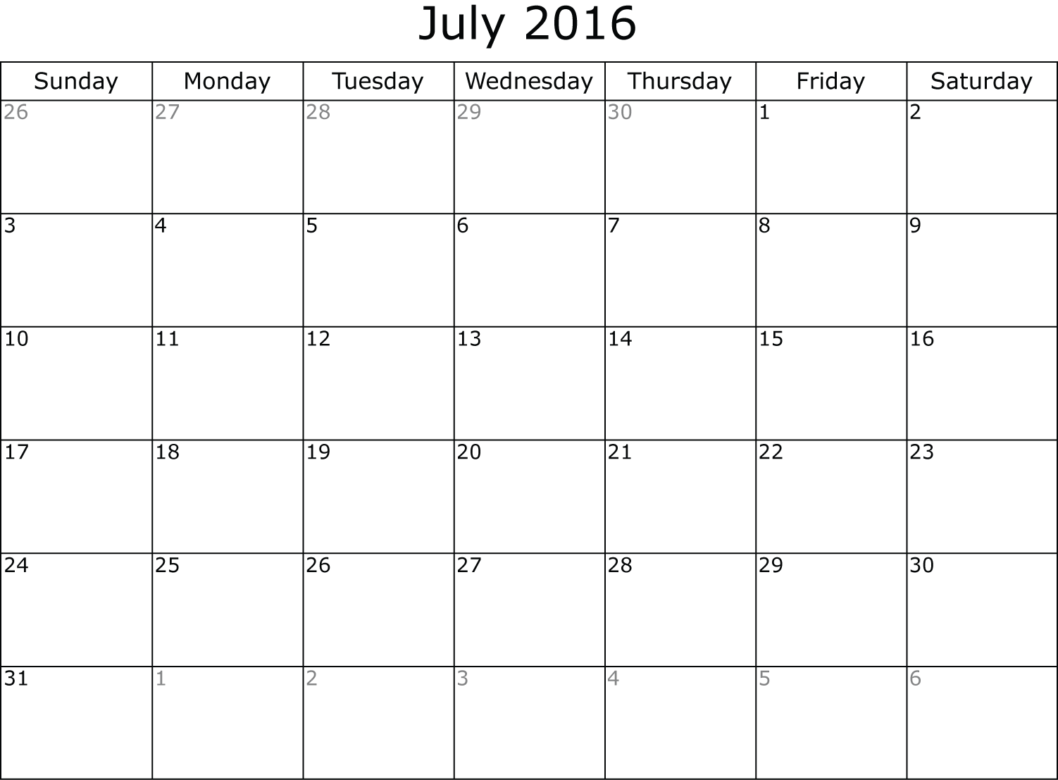 July  Calendar Printable Pdf  July Calendar Printable