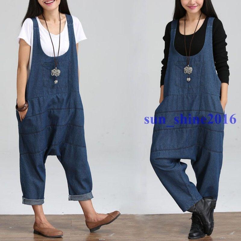 74146c7c25f Womens Literary Loose Denim Overalls Harem Pants Oversized Jeans Jumpsuit  Romper