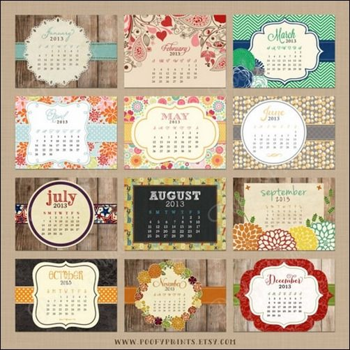 Creative Calendar Themes : Desk rustic calendar design inspiration pinterest