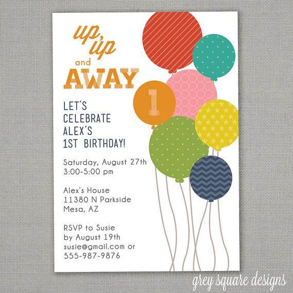 modern balloons birthday invitation by greysquare on etsy 12 00