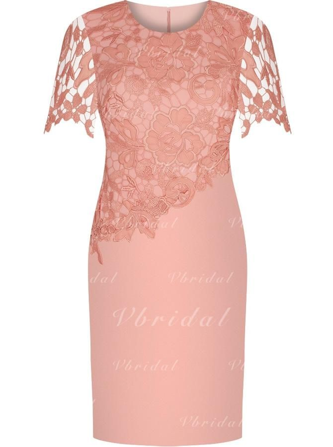 Sheath Column Scoop Neck Knee-Length Satin Lace Mother of the Bride Dress  (008146316) - mvbridal   Kleid   Pinterest   Kleding, Jurken und Chique 33599edf01