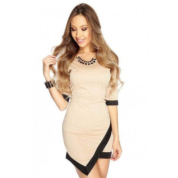 Black Beige Asymmetrical Short Sleeve Dress featuring polyvore women's fashion clothing dresses short sleeve dress beige prom dresses short sleeve prom dresses asymmetrical dress beige dress