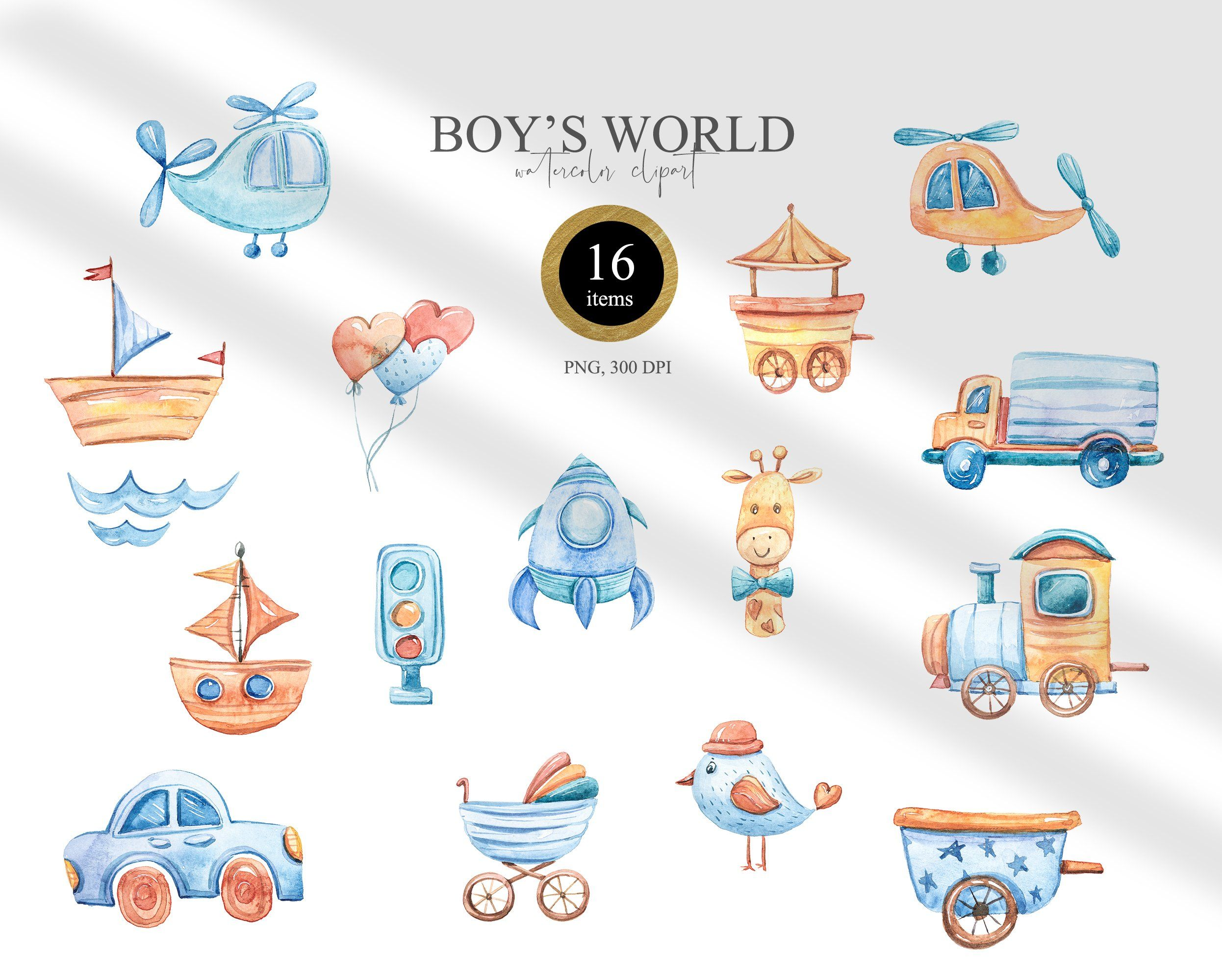 Watercolor It S A Boy Clipart Nursery Transport Clipart 1104217 Illustrations Design Bundles Baby Clip Art Clip Art Baby Shower Clipart