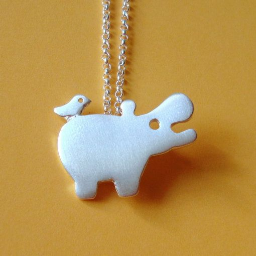 Hippo with tiny friend Necklace in sterling silver Kids Teen jewelry gift girl cute charm necklace mom  for her spring easter. $40.00, via Etsy.