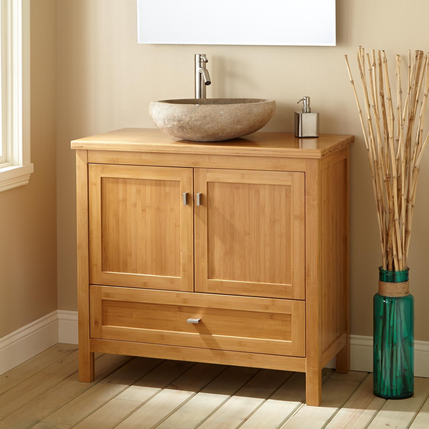 36 Narrow Depth Bashe Bamboo Vessel Sink Vanity With Images