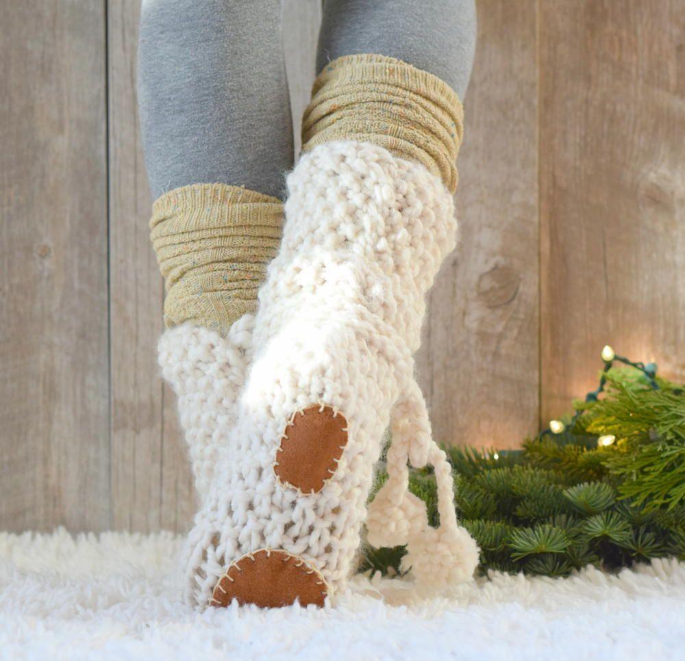 Mountain chalet knit flat slipper boots crochet socks and mountain chalet knit flat slipper boots bankloansurffo Choice Image