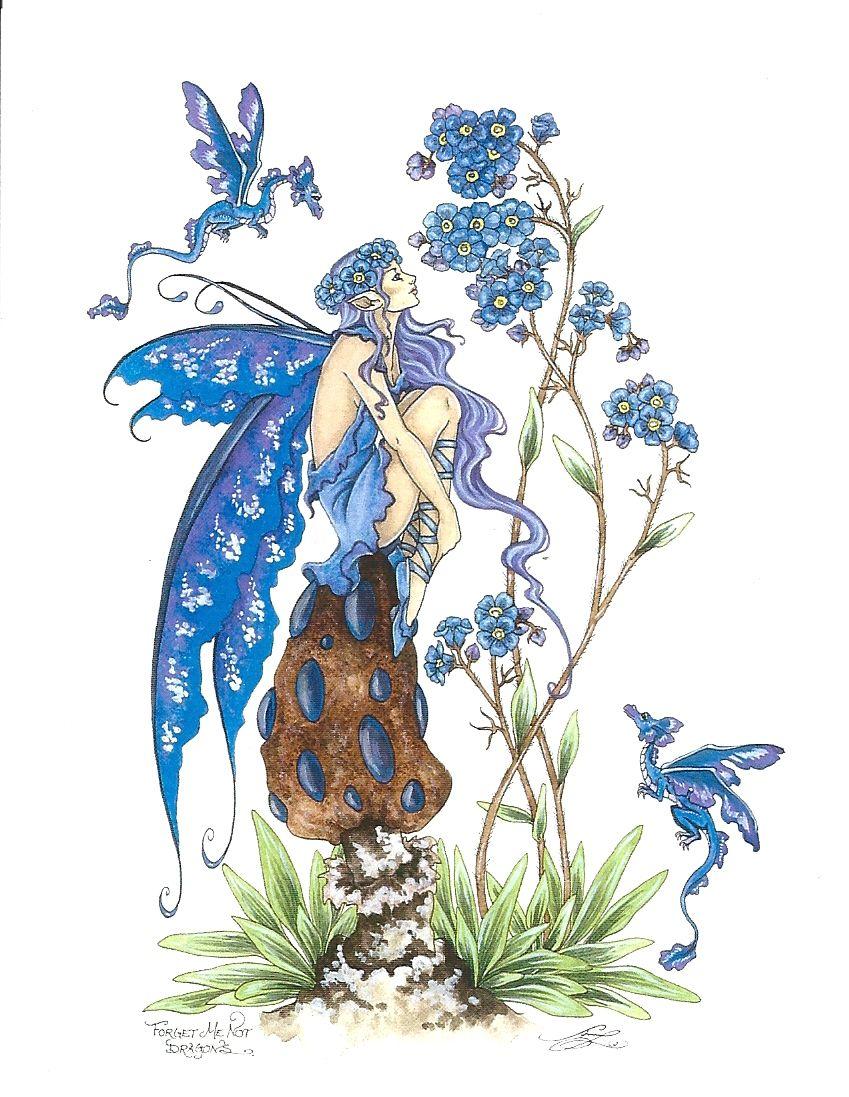 AMY BROWN NEW /&MINT FAIRY POSTCARD//MINI ART PRINT WILD VIOLET FLOWER FAERIE FAE
