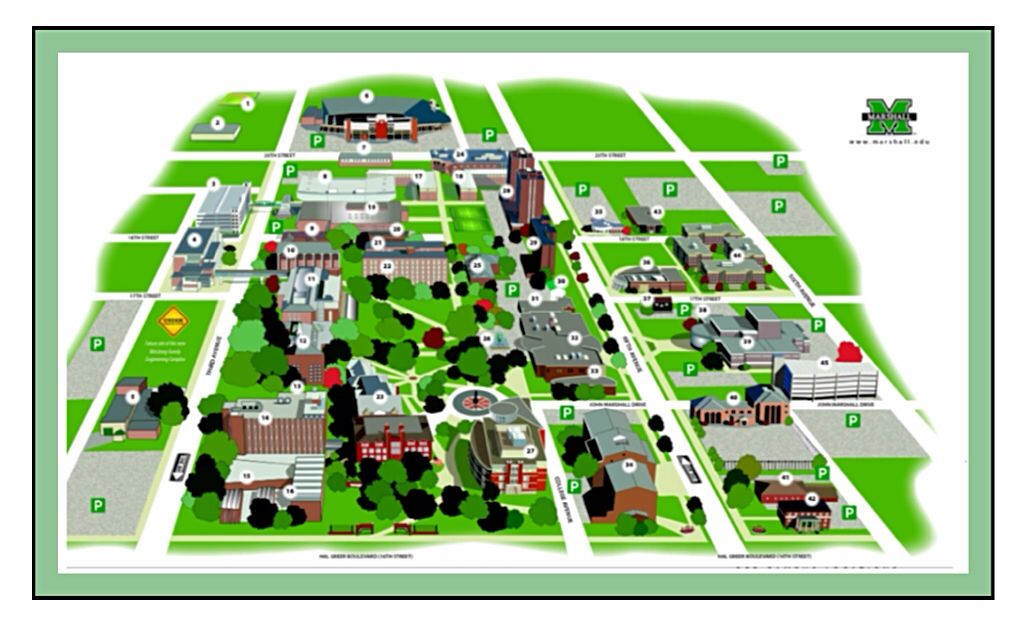 Marshall University Map PAGE 1 of 2 Campus Map | Marshall University (1837) | Pinterest  Marshall University Map