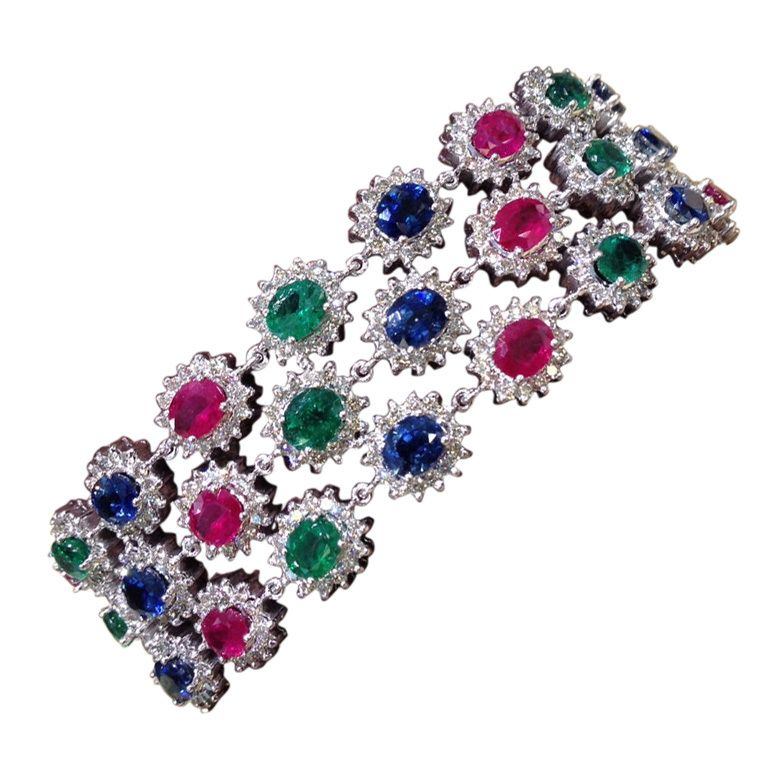 triple diamond emerald ruby sapphire pin karat gold yellow ring row