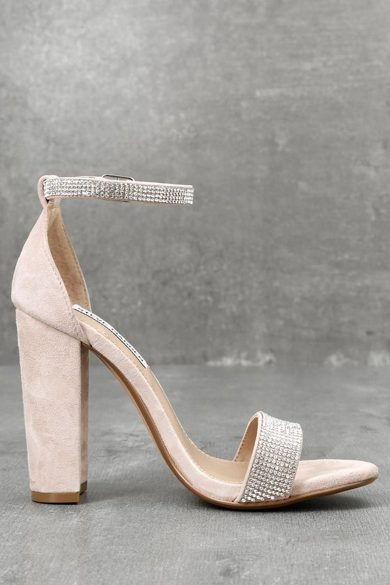 8fd4ff150c0 Carrson-R Rhinestone Nude Suede Leather Ankle Strap Heels