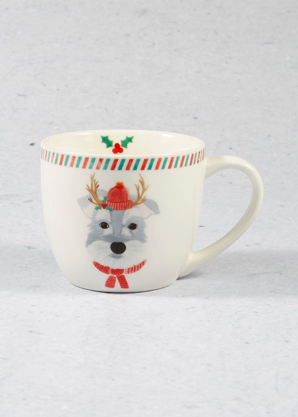 Dog Christmas Mug 10cm X 9cm Cream Christmas Mugs Christmas Dog Christmas Plates