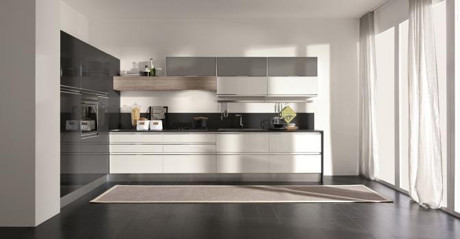 Cucine Bianco Grigio : Cucina masca evo grigio grafite lucido e bianco lucido italian