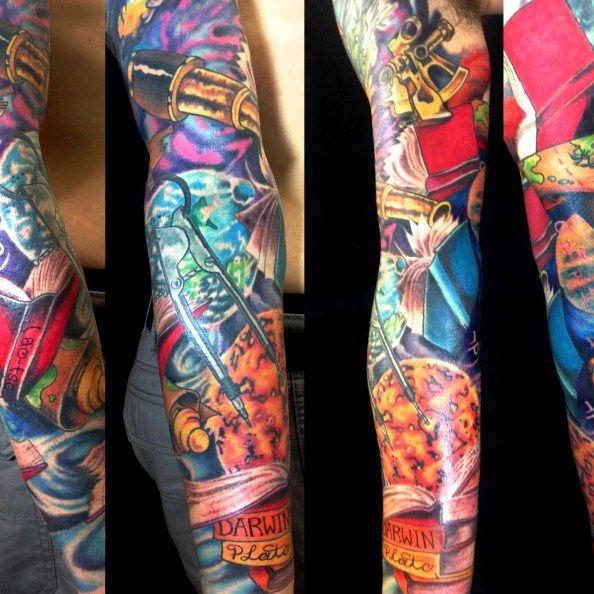 adam rose, adam rose tattoo  ,denver, denver tattoo, colorado, colorado tattoo, sleeve, books, color  tattoo, adamrose, adamrosetattoo, fallenowltattoo, thinker