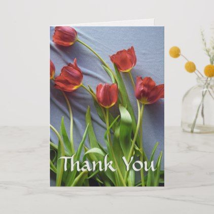 Red Tulips Custom Thank You Greeting Cards #cards