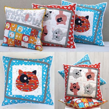 Claire Turpin designed cushion pattern called Kitty Cats | Sewing ...