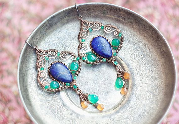 Wire wrapped gypsy copper earrings with lapis lazuli by SabiKrabi,