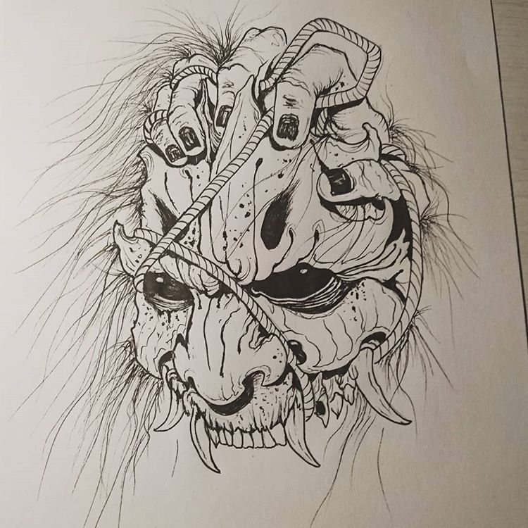 "Andrea - Yomi Tattoo Studio on Instagram: ""Oni mask . . . #akumababi #yomitattoostudio #inksketch #ink #sketch #sketchbook #sketches #sketching #sketchtattoo #tattoos #tattoo…"""