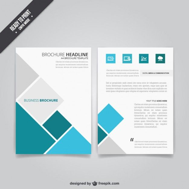 Folheto Do Negcio Com Quadrados  Business Brochure Brochures