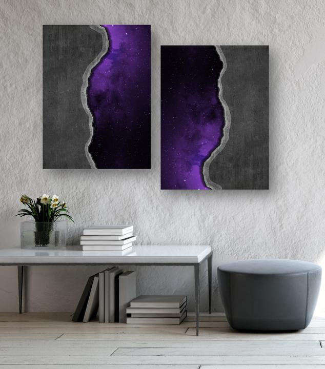 Abstract Art Purple Cosmos Through Concrete Wall Digital Etsy In 2020 Purple Wall Art Purple Art Abstract Concrete Wall