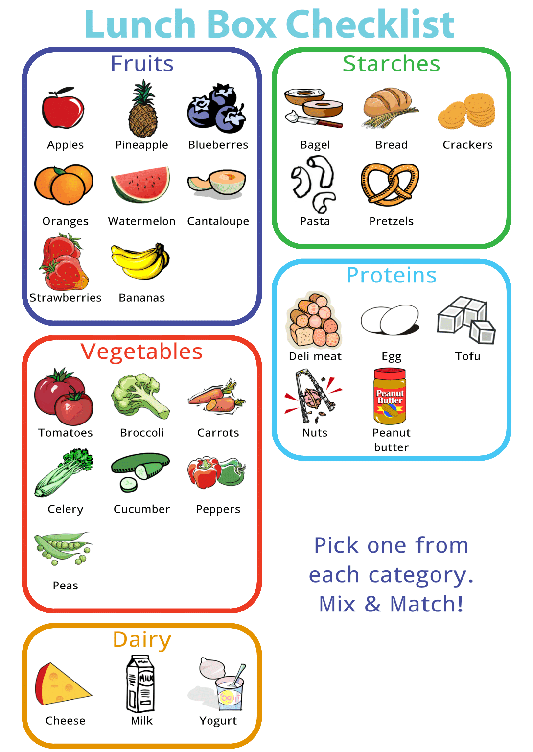 Make Any Picture Checklist is part of Healthy lunches for kids - Free printable checklist  print it as is or edit it to make it just right
