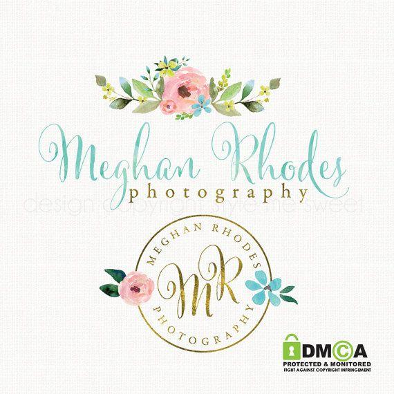 Rose Logo Design Premade Shabby Chic By Stylemesweetdesign