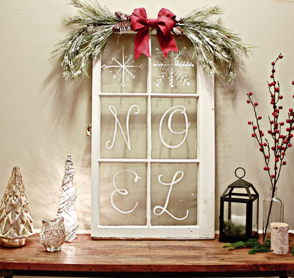 Window pane decor  diy rustic christmas decorations  christmas diy  pinterest