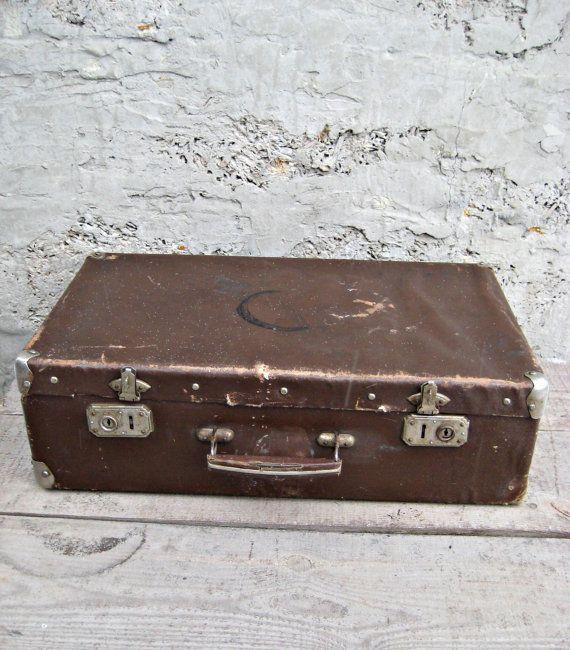 Vintage suitcase/vintage luggage/travel suitcase/ suitcase brown ...