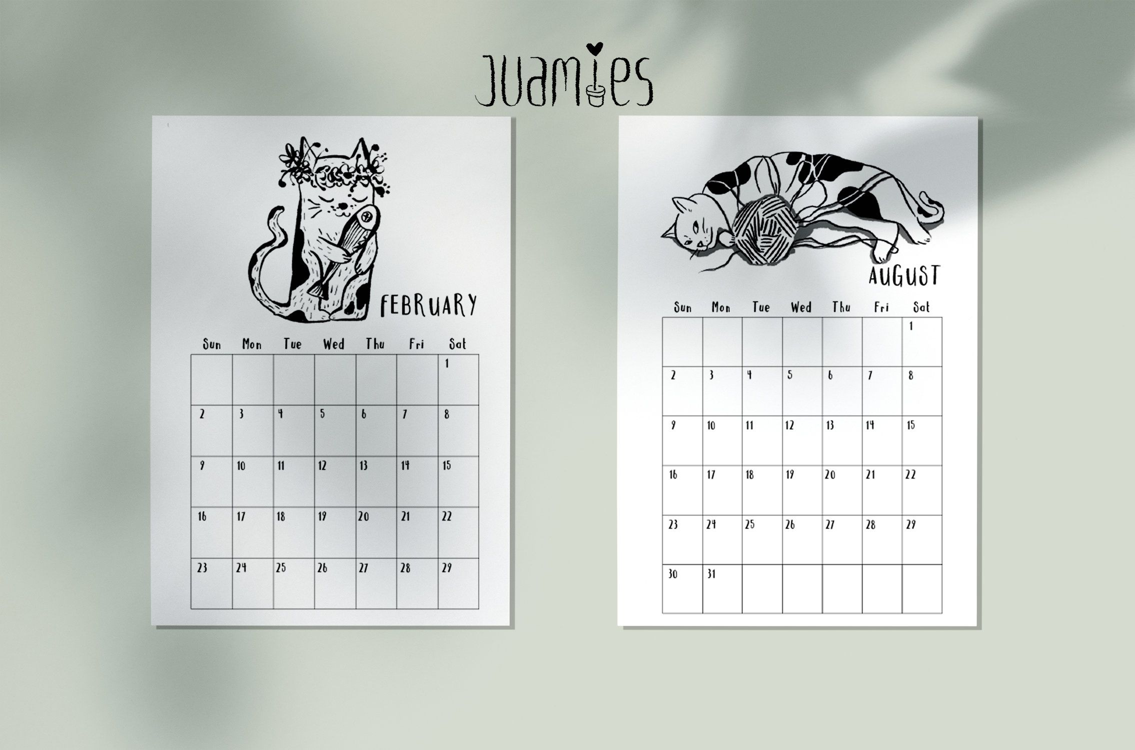 Printable Cute funny cat Calendar 2020, 12 month calendar