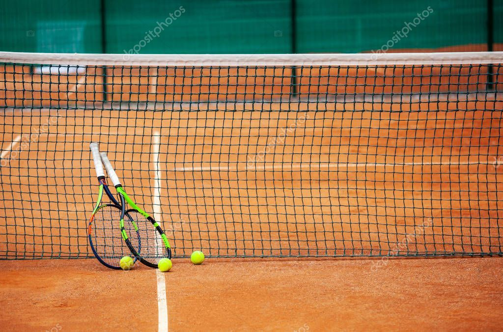 Tennis Rackets And Balls Leaned Against The Net Stock Photo Ad Balls Rackets Tennis Leaned Ad Tennis Racket Rackets Tennis