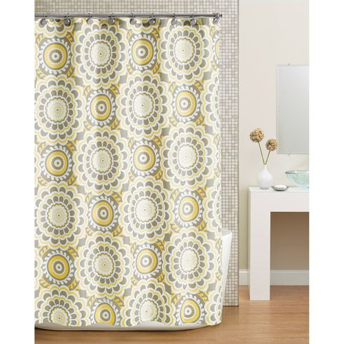 Yet another shower curtain I like. With tan walls and white tile ...