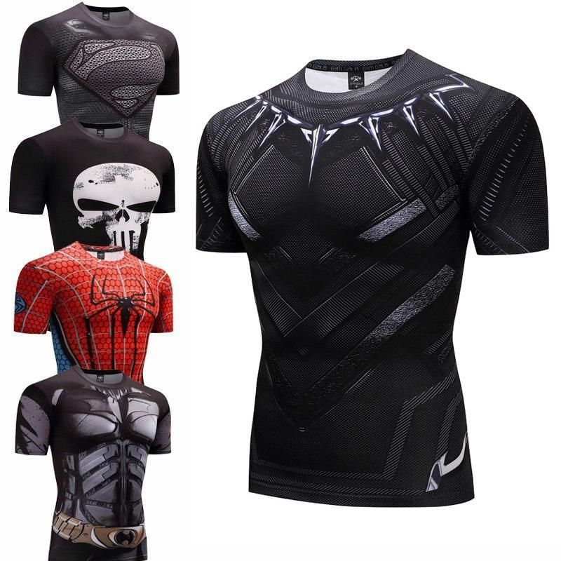 Black Panther Fitness Bodybuilding Compression Shirt Men Anime Rashgarda Rashguard Mma 3d Superman Punisher T Shirt Crossfit Punisher T Shirt Compression Shirt Men Compression Shirt