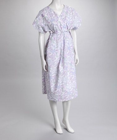 Take a look at this White & Violet Urban Belly Birthing Gown - Women by Blow-Out on #zulily today!