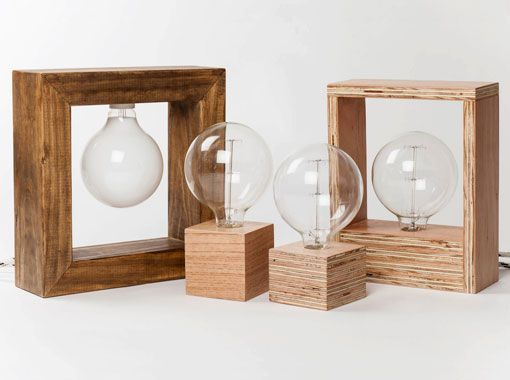 lmparas de mesa hechas a mano con maderas recicladas