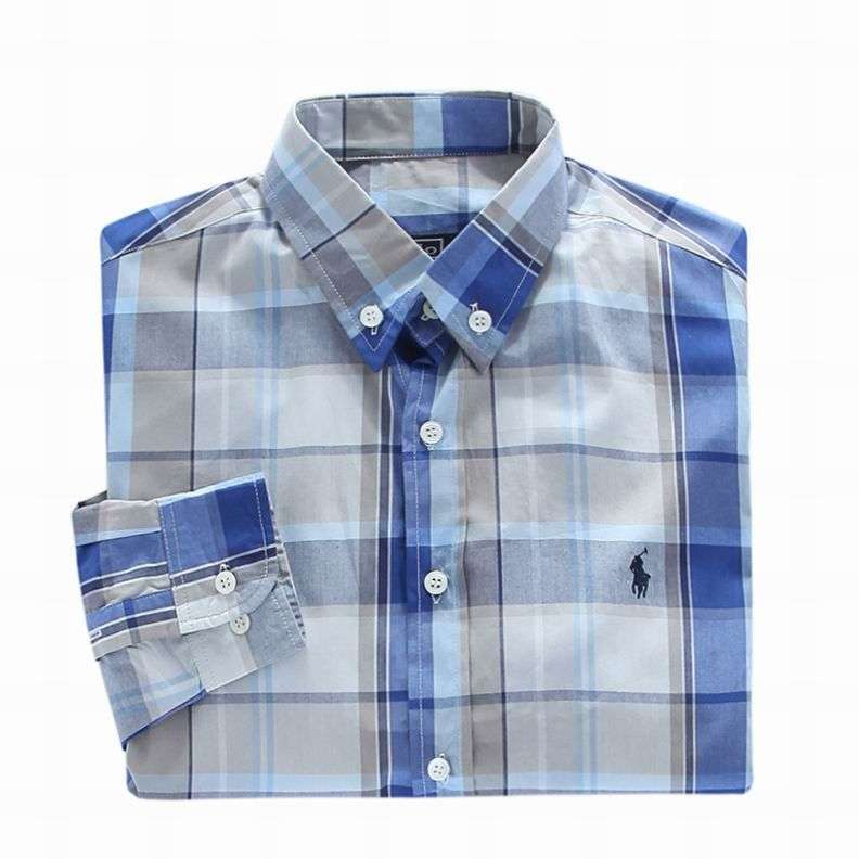 Blue ralph lauren Small pony long Plaid Cheap shirt