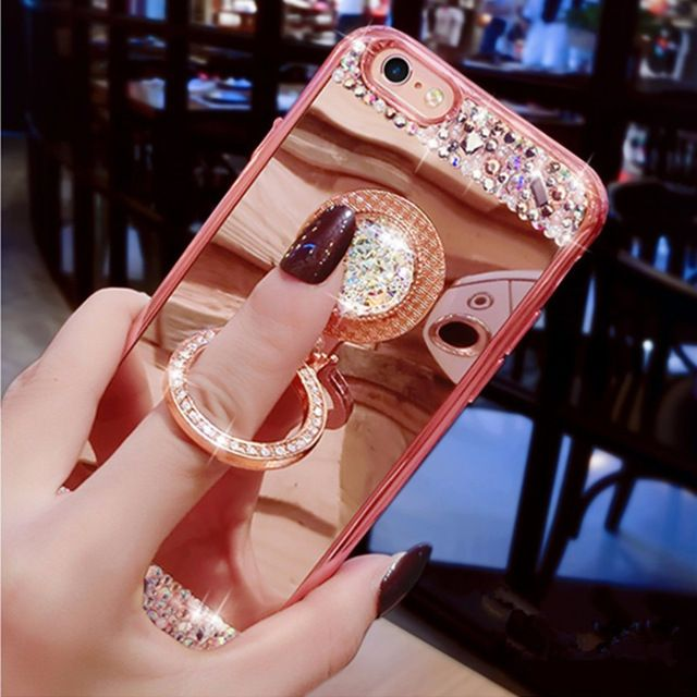 Price  US  3.79 For iPhone 7 Case Luxury Girls Women Diamond Glitter Mirror  Case With 360 Phone Ring Stand Soft Case For iPhone 7 6 6S Plus 5S 1de6aeb95