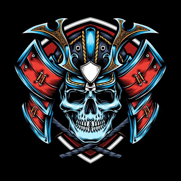 Skull With Samurai Helmet   Samurai helmet, Japanese warrior tattoo, Samurai