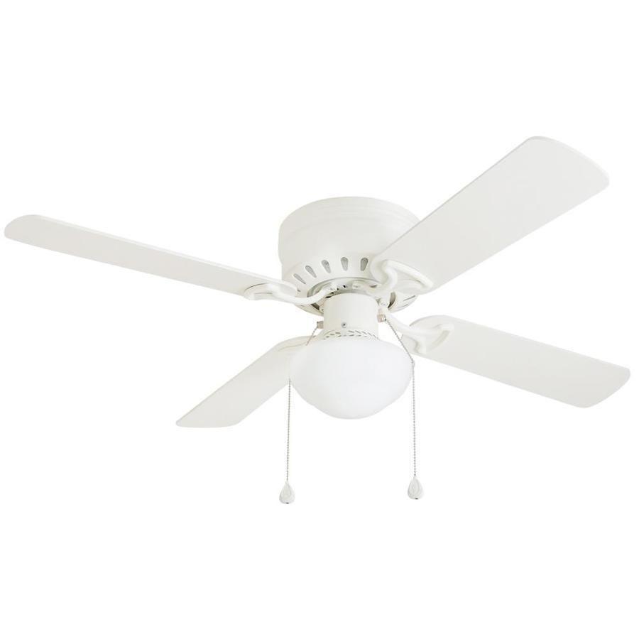 Harbor Breeze Builders Series 42 White Finish Ceiling Fan 0373684 Model 40016 Ebay Flush Mount Ceiling Fan Ceiling Fan With Light Fan Light
